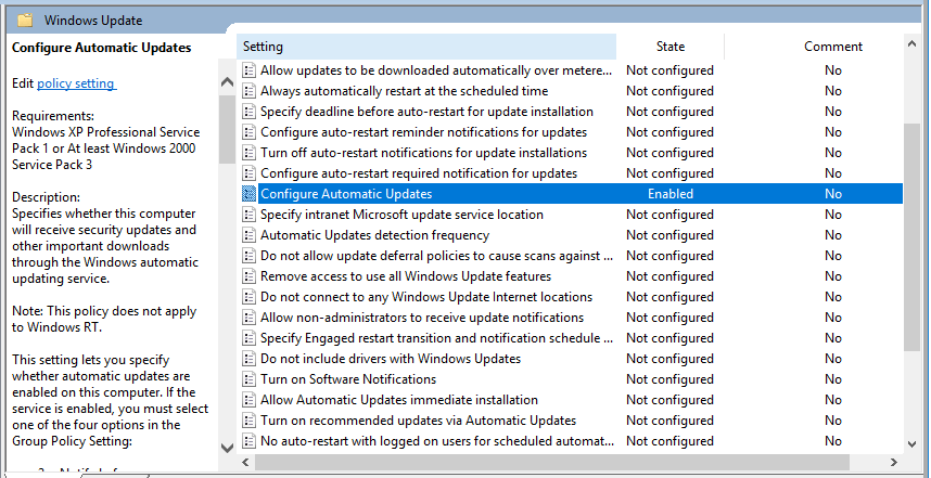 windows 10 disable auto update group policy