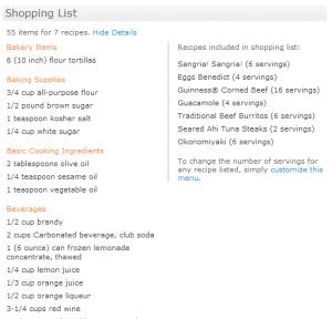 week3 shopping list