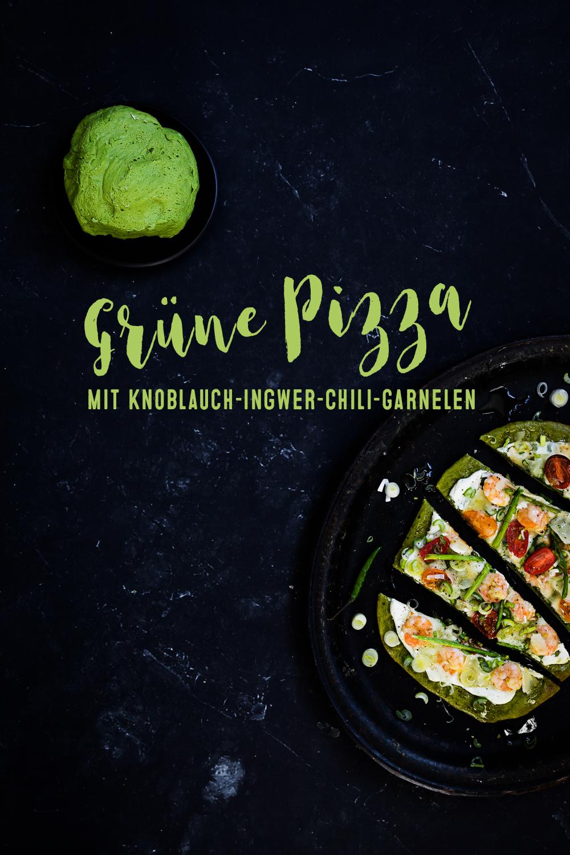 Gruene Pizza mit Knoblauch-Ingwer-Chili-Garnelen | seelenschmeichelei.de