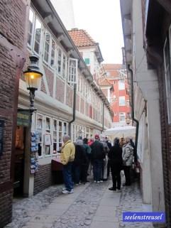 """Krameramtswohnungen: Auf dem Gelände entstand um 1620 ein Landhaus mit """"Lustgarten"""" und Gartenhaus. 1676 erwarb das """"Krameramt"""", die Zunft der Einzelhändler, das Grundstück und bebaute es mit zwei Hofflügeln. Die jeweils 5 Häuser (Haus b-f und g-l) waren für die Witwen der Zunftmitglieder gedacht. Als 1863 mit der Gewerbefreiheit die """"Ämter"""" aufgehoben wurden, erwarb die Stadt Hamburg die Bauten und nutzte sie bis 1969 als Altenwohnungen. 1971-74 wurde dieser letzte Wohnhof des 17. Jh. in Hamburg durchgreifend renoviert."""