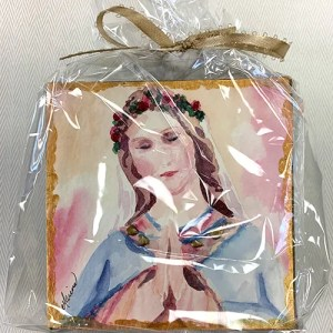 Blessed Mother miniature watercolor print