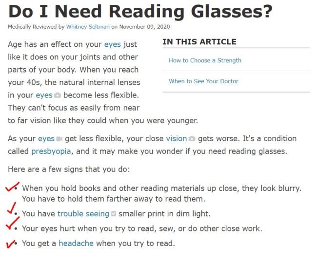 do I need reading glasses survey