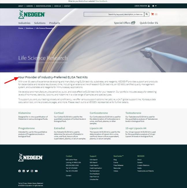 Neogen B2B website headline