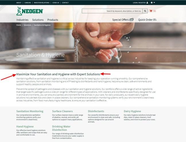 Neogen B2B sanitation webpage