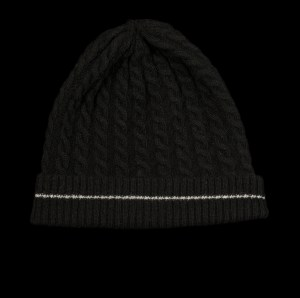 Malena Black Cashmere Cable Knit Black Hat