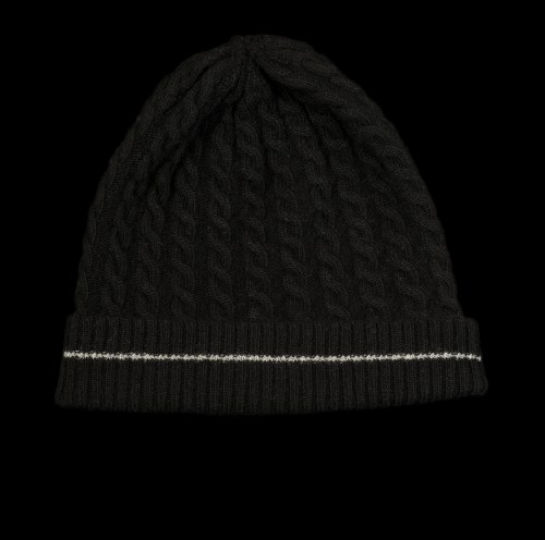 Malena Black Cashmere Cable Knit Black Hat