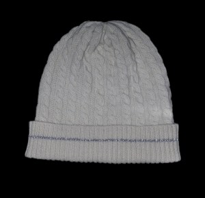 Malena White Cable Knit Cashmere Reflective Hat
