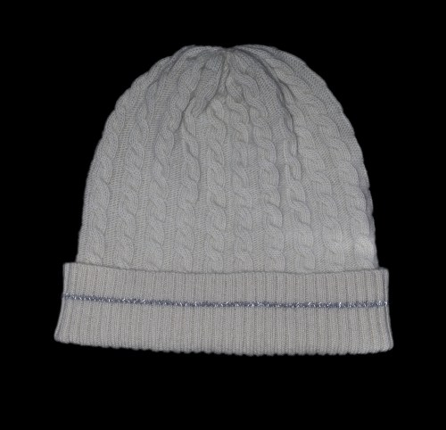 Malena White Cable Knit Cashmere Reflective Hat