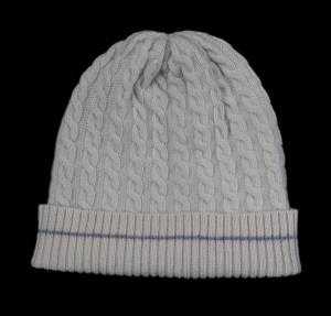 Malena White Cable Knit Cashmere Hat