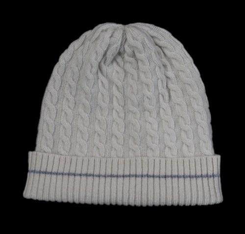 Malena White Cable Knit Cashmere Hat