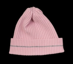 Nelly Pink Cashmere Rib Knit Hat