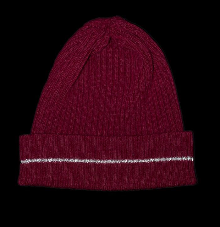 Nelly Burgundy Cashmere Rib Knit Hat