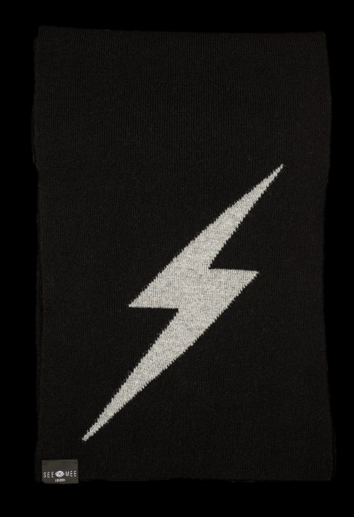 Thor Black Small Lightening Bolt Reflective Cashmere Scarf