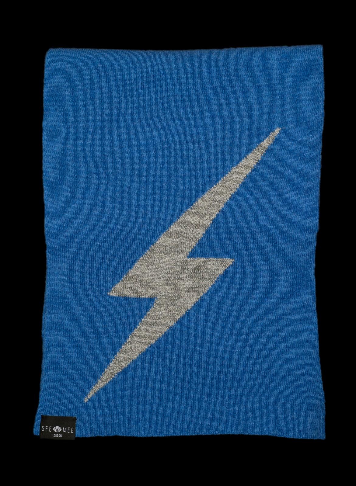 Thor Blue Small Lightening Bolt Cashmere Scarf