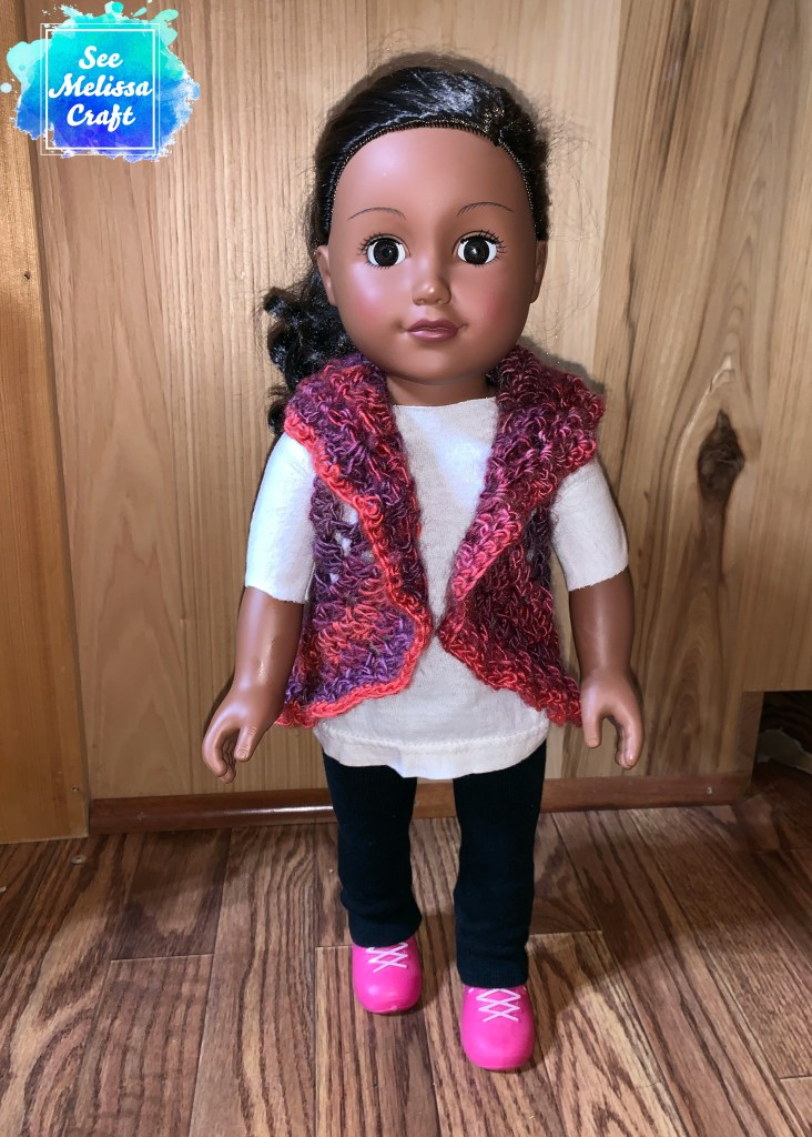 "Front of 18"" doll vest"
