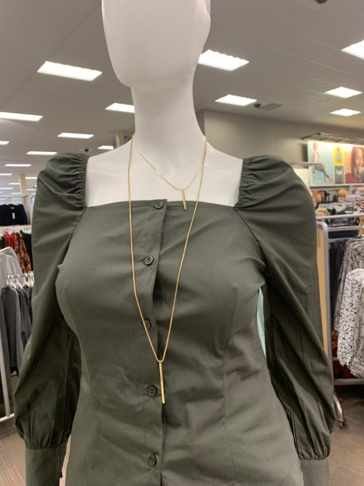 A photo of a square neckline women's shirt at Target.