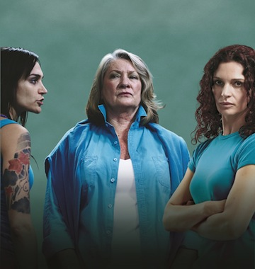 Nicole da Silva (Francesca 'Franky' Doyle), Kris McQuade (Jacqueline 'Jacs' Holt), Danielle Cormack (Bea Smith) IMAGE PROVIDED BY CHANNEL 5