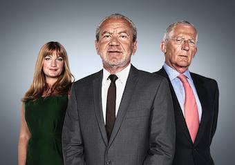 (l-r) Karren Brady, Lord Sugar and Nick Hewer. Photo: BBC/TALKBACK THAMES