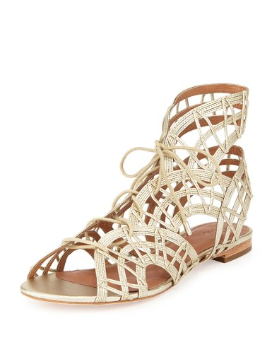 Joie RENEE LACE-UP GLADIATOR SANDAL ($375) in White Gold, at Neiman Marcus, Somerset Collection, Troy (248-643-3300; neimanmarcus.com).