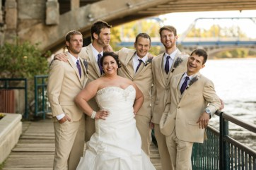 Among Nathaniel's groomsmen were his brother and best man, Joe, second from left, and Nicole's brother, Christopher, far right.