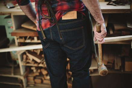 American-made jeans from Detroit Denim have hand-cut and stamped leather labels, U.S.-made raw copper buttons and rivets — the mark of quality and durability.