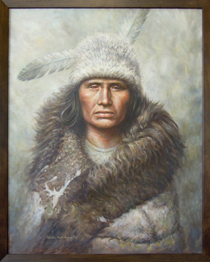 """Pawnee Warrior,"" oil, by Michael Hendrix, Clarkston."