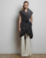Jamison Vest: Double-layered long rain wrap vest with double adjustable collar.