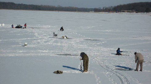 Try your hand at ice fishing at Stony Creek in Shelby Township.