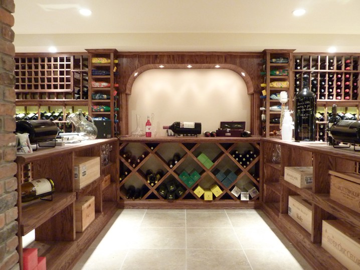 Focal point of French country-style wine cellar.