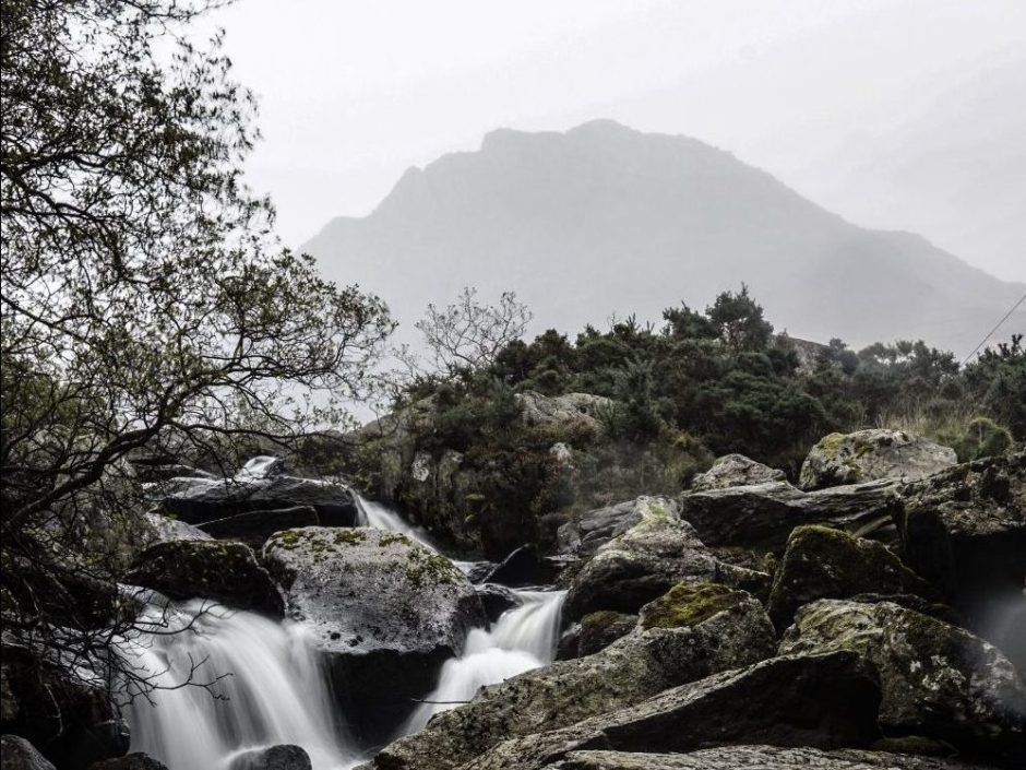 Tryfan in the rain from Nant Franccon
