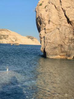 裝滿海水的瓶子以及一顆很特別的石頭,海水拍過來的時候會形成大無限的漩渦。