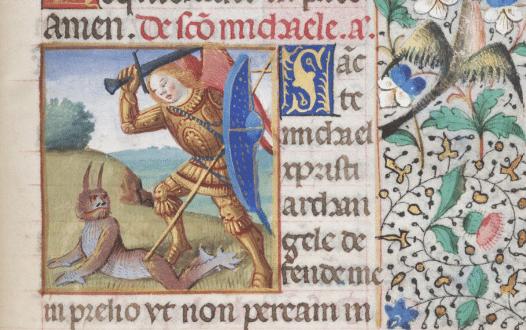 Angel attacking a demon, circa 1375