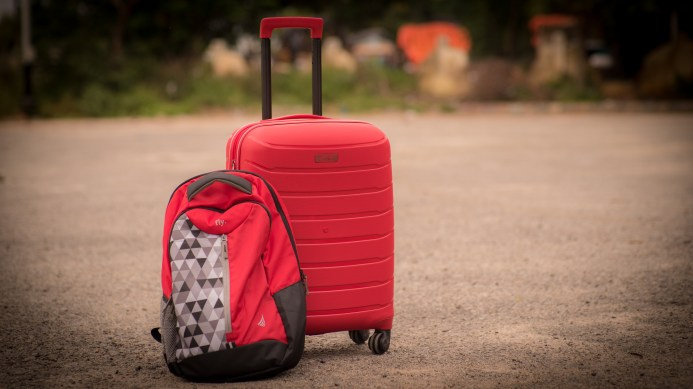 Red Polypropelene bag and back-pack.