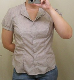 Shirt with collar turned down