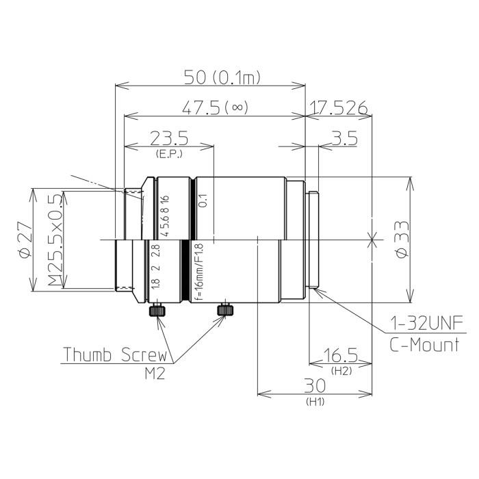Kowa LM16JC10M lens drawing