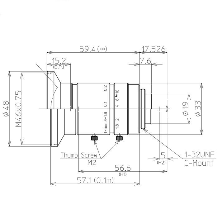 Kowa LM5JC10M lens drawing