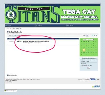Tega Cay Elementary School Calendar mark