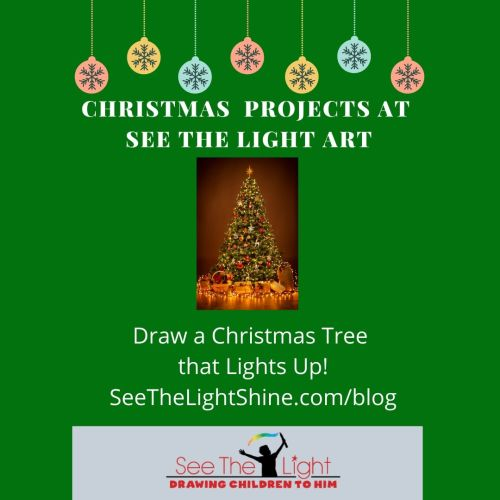 draw a lighted Christmas tree