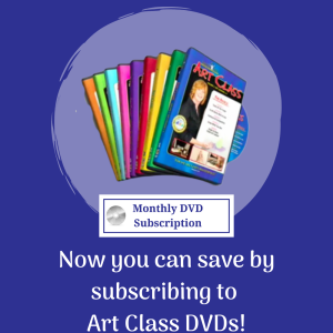 Dark blue background with boxed art set and text overlay. Now you can save by subscribing to Art Class DVDs! See the Light