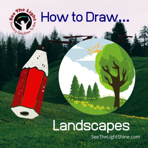 Landscape background with cartoonish pencil. How to Draw Landscapes. See the Light Shine
