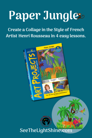 Teal background with jungle image and text overlay. Paper Jungle Art Project by See the Light Art. Create a Collage in the Style of French Artist Henri Rousseau.