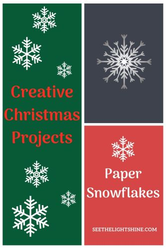 Collage with green, blue and pink background. Text overlay: Creative Christmas Projects: Paper Snowflakes. See the Light Shine Art