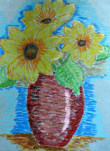 Sunflowers in red vase sitting on a table. Created with oil pastels. See the Light Art