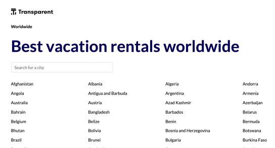 Top short term rentals worldwide