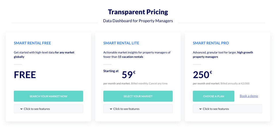 Free vs LITE vs PRO: Which Transparent data dashboard is best for you? Vacation rental data is key - how much does it cost?
