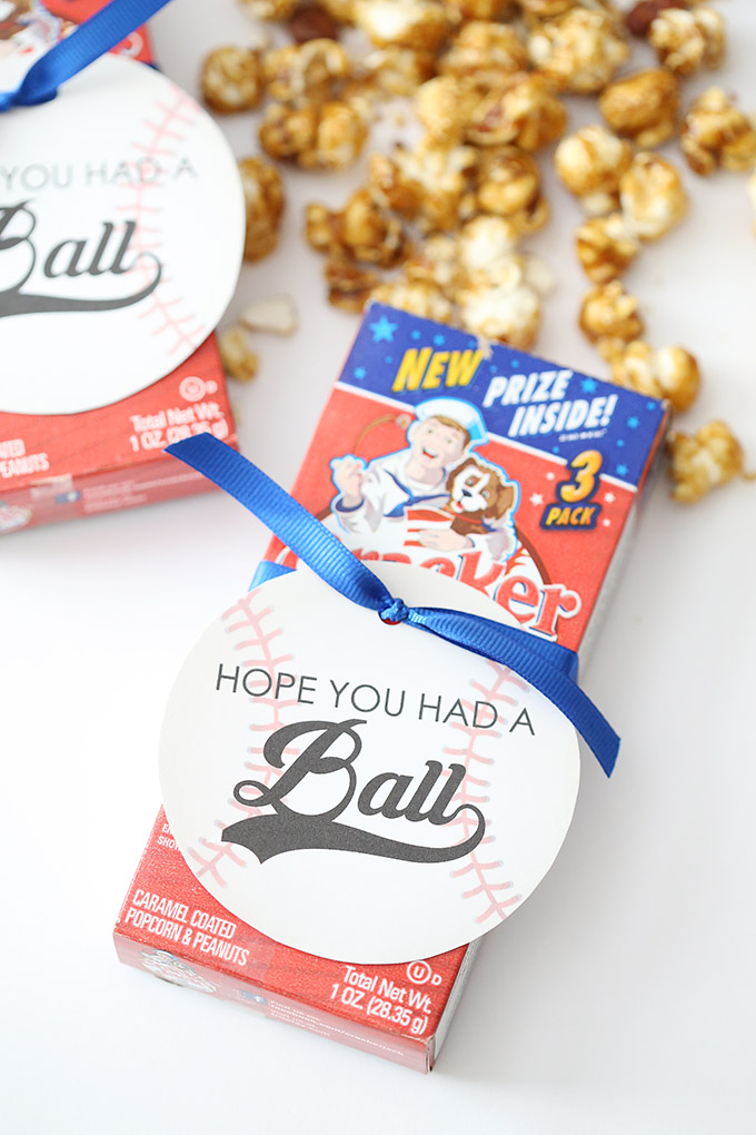 "Cracker Jacks ""Hope You Had a Ball"" Printable Baseball Party Favors and Printable Tags 