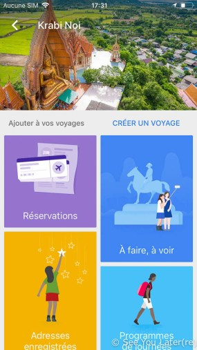 capture d'écran google trips