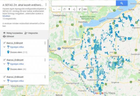 SEFAG Zrt. erdőgazdálkodási területének átnézeti térképe