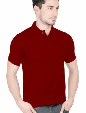 Men's plain polo t shirt-Maroon.