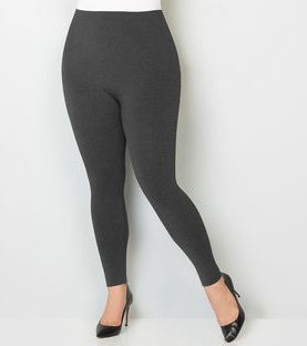 Women's plus size cotton leggings-Grey.